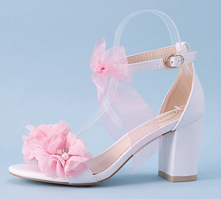 Summer pink sandals shoes womens ankle buckle straps HS168 sweet bow flower brides bridal ladies party