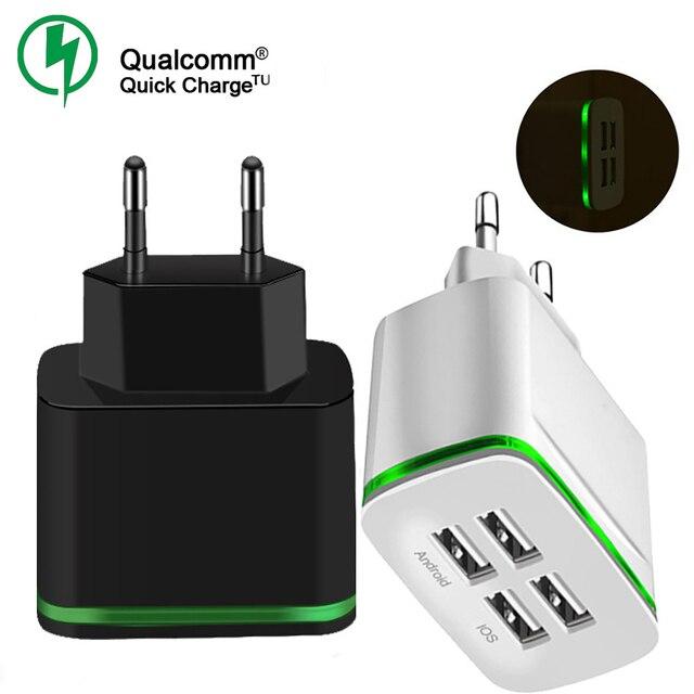 QC 3,0 4 puertos cargador USB adaptador de carga rápida de viaje inteligente para iPhone Samsung Xiaomi Universal Micro tipo C rápido cargadores