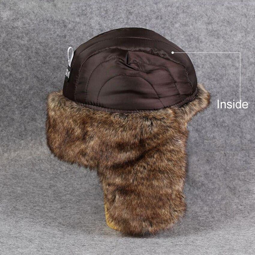 4ba4355a60a Men Women Russian Ushanka Bomber Hats Vintage Faux Fur Trapper Hat PU  Leather Wind Proof Earflap Pilot Caps Winter Trooper Hat-in Bomber Hats  from Apparel ...