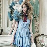 Ky & q جديدة preppy نمط المرأة المرقعة أكمام الكشكشة العنق ضوء أزرق اللباس للسيدات حزب اليومية vestidos