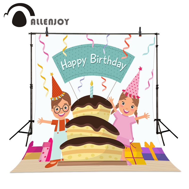 Happy Birthday photography baby Backdrops Boys and girls together to celebrate cake gift floors background Allenjoy studio sweet berry go and celebrate happy team