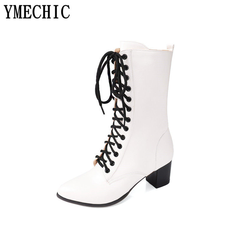 Image 3 - YMECHIC 2018 Street Rock Cross Lace Up Block High Heel Ankle Combat Boots for Women White Black Military Ladies Shoes WinterAnkle Boots   -