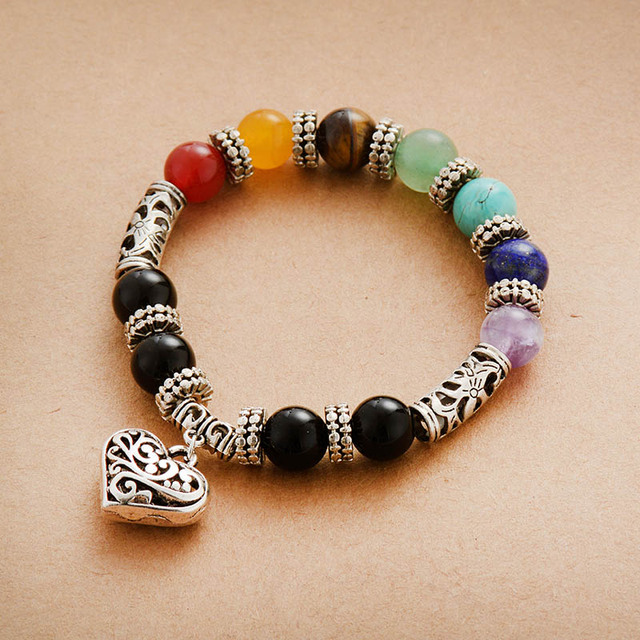 Bracelet: Chakra Natural Stone Beads and Heart Charm