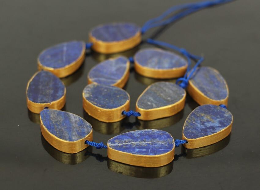 15.5strand 11PCS Natural Lapis Lazuli Teardrop Shape Pendants Loose Beads,Lapis Gold Pated Edged Gems Nekclace Jewelry