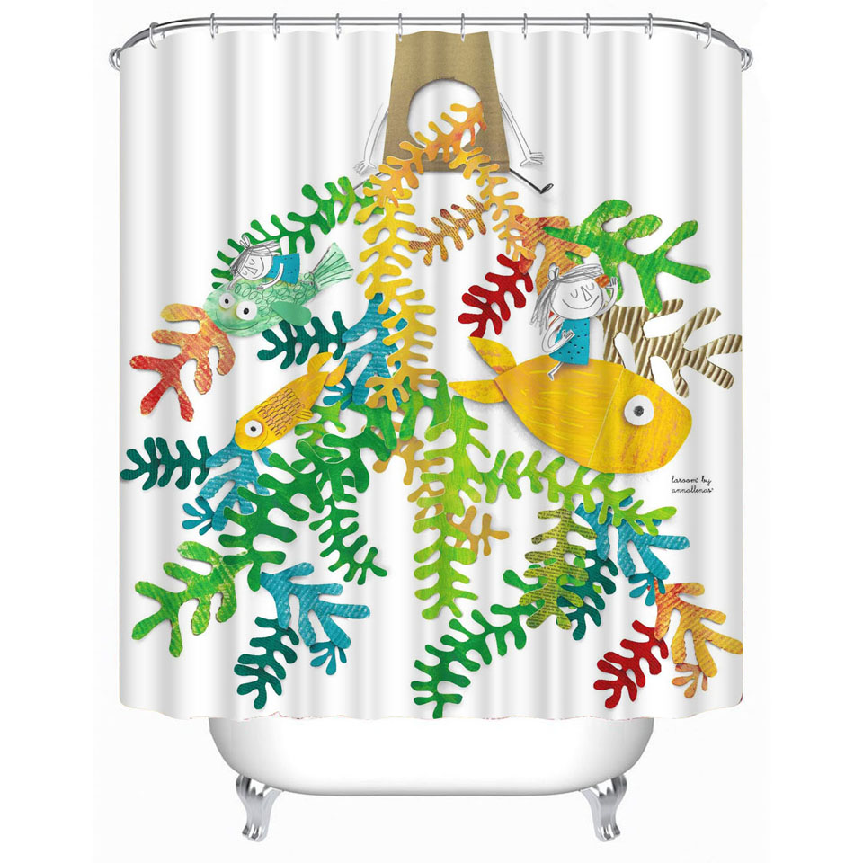 Style selections eva peva print multi fish shower curtain at lowes com - Online Get Cheap Cartoon Fish Printed Bathroom Shower Curtain