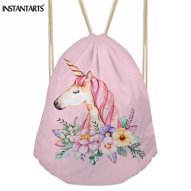 b265d55dd8f INSTANTARTS Pink Unicorn Printed Women Sport Drawstring Bag Outdoor Gym Bag  for Girl Lady Swimming Fitness Small String Backpack-in Gym Bags from Sports  ...