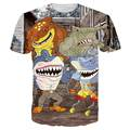 New Shark 3D T Shirt Men 2016 Mens Fashion Cartoon Printed Short Sleeve Funny T Shirts Brand Slim Elastic T-shirt Men Tee Shirt