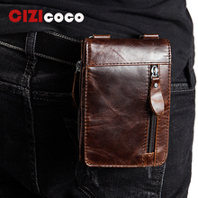 Cizicoco Genuine Leather Waist Packs Fanny Pack Belt Bag Phone Pouch Bags New Travel Fashion Male Small