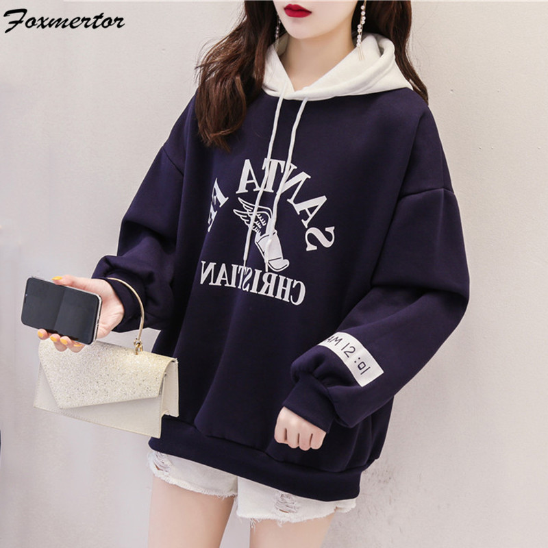 Hoodies Women 2019 Women Letter Sweatshirts Long Sleeve Hoodies Female Color Stitching Tracksuits Sportswear Moletom Feminino