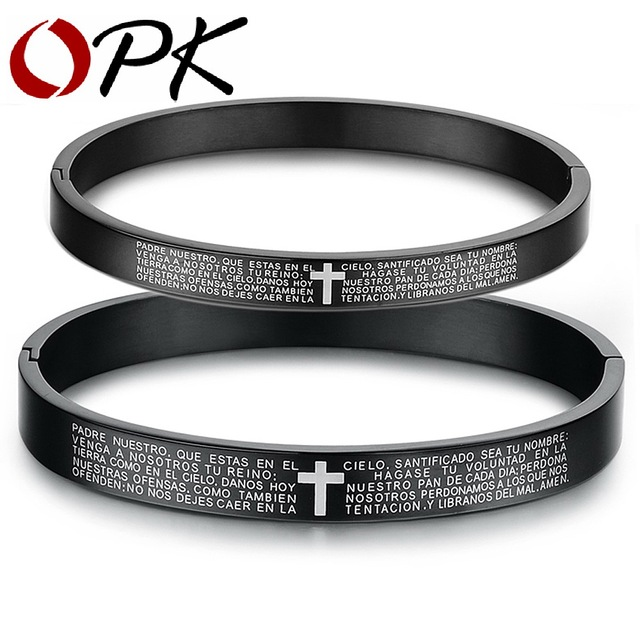 OPK FASHION JEWELRY couple bangles for men and women cross The bible bracelet 316L taniless steel free shipping black 848