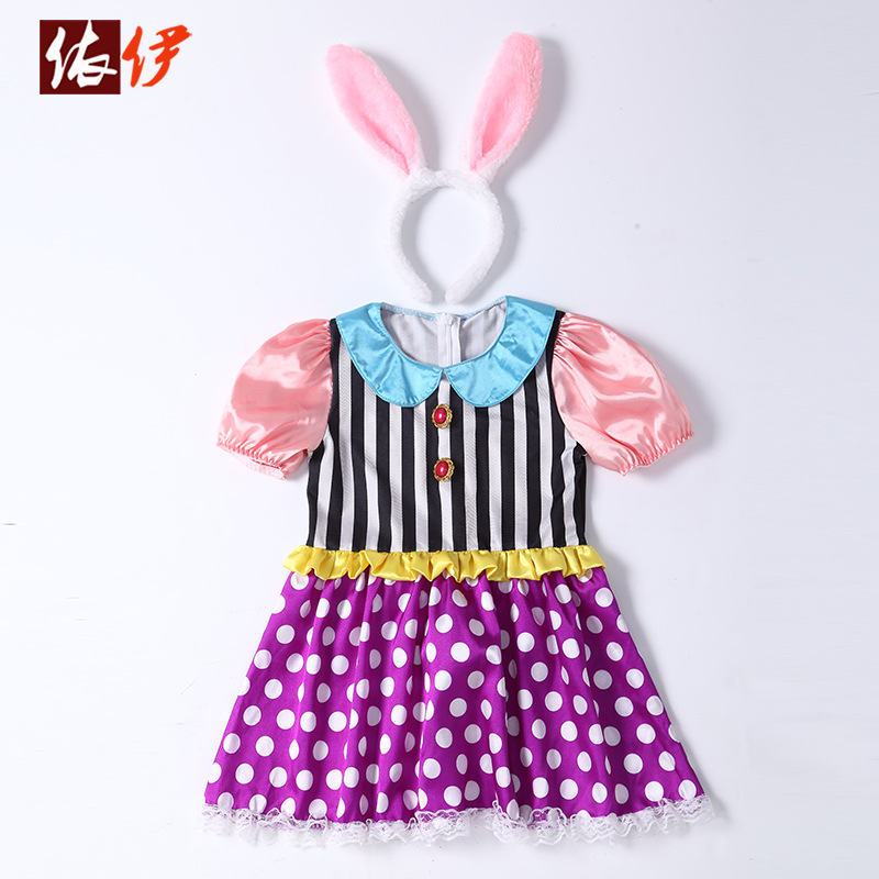 2018 New Children Animal Cosplay Rabbit Costume Carnival Performance Clothes Kids Bunny Halloween Costumes for Girls Dress Gift halloween costumes for children boys kids cosplay costume fantasia disfraces game uniforms kids clothes set