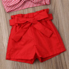 Baby Girl Clothes Set Plaids Strap Outfits