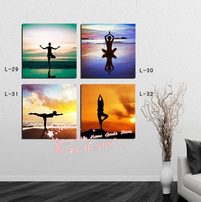 Decoracion Salones Yoga ~   de Fotos 4 Panel Se?ora Haciendo Yoga Sal?n de Belleza Decoraci?n