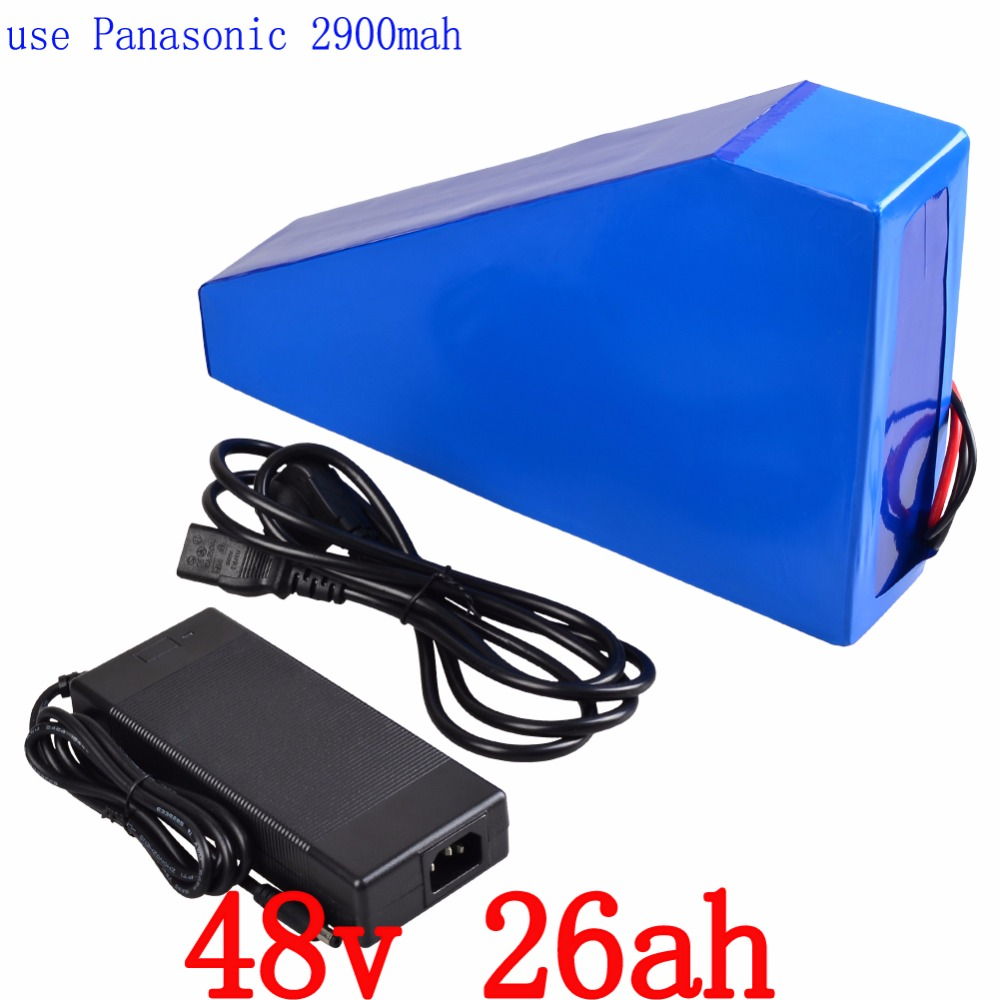 2000W 48V Triangle battery 48V 26AH Electric Bike lithium battery pack Use for Panasonic 2900mah cell 50A BMS 54.6V 2A charger free customs taxes super power 1000w 48v li ion battery pack with 30a bms 48v 15ah lithium battery pack for panasonic cell