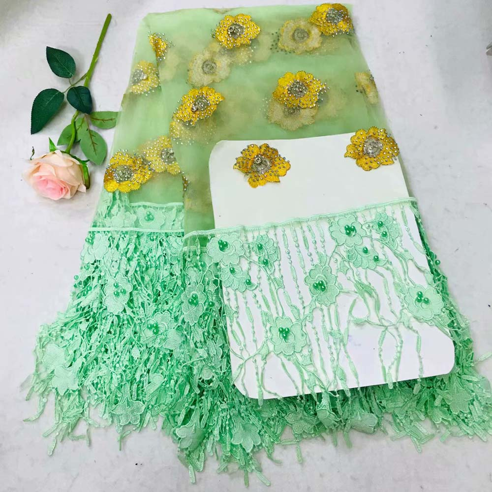 Beautiful grass green 3 D Lace Applique Flower Nigerian Lace Fabric With Beads Sell Well Hign Quality Lace Trim DressBeautiful grass green 3 D Lace Applique Flower Nigerian Lace Fabric With Beads Sell Well Hign Quality Lace Trim Dress