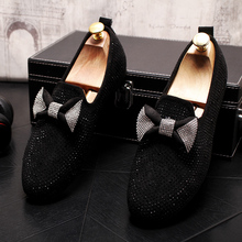 New Arrival Quality Bow-knot Creepers Mens Dress Flat Shoe Bling Rhinestone For Men Stud Zapatos Holgazanes Hombre Vestir
