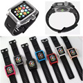 O metal de alumínio caso capa protetora esportes robusto faixas de relógio de pulseira de silicone para a apple watch sport edition 38mm/42mm pulseira