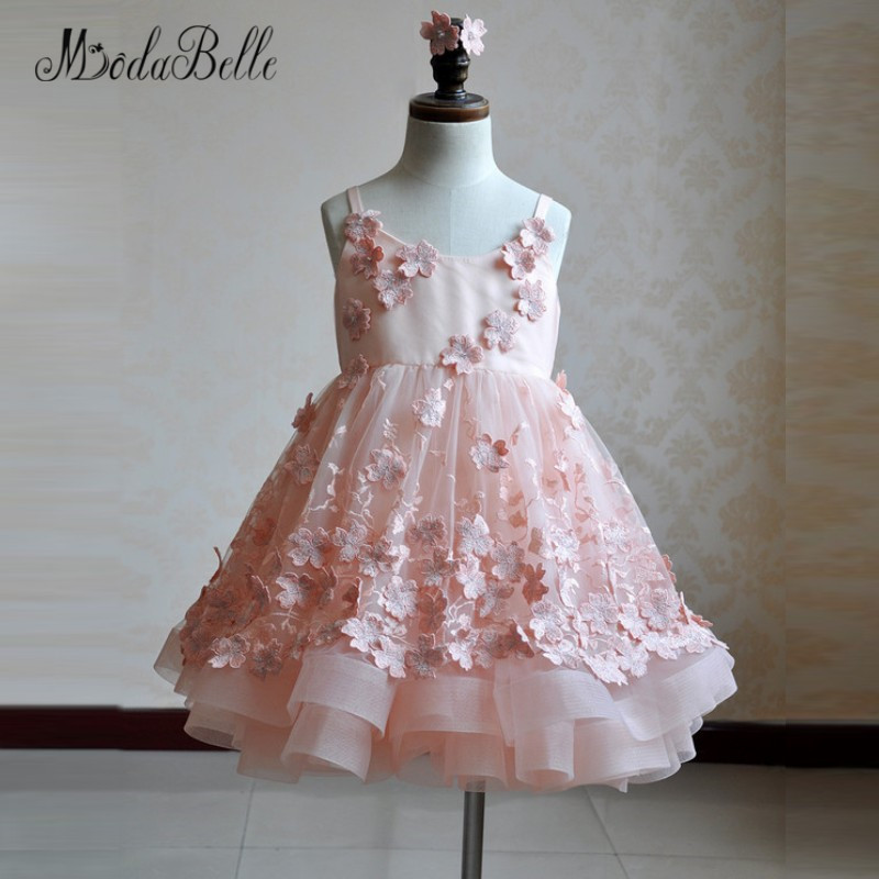 modabelle Blush Pink Flower Girl Dress Floral Baby Christmas Ball Gowns  Kids Glitz Puffy Pageant Dresses Children 2018 New Year 9f58714d734f
