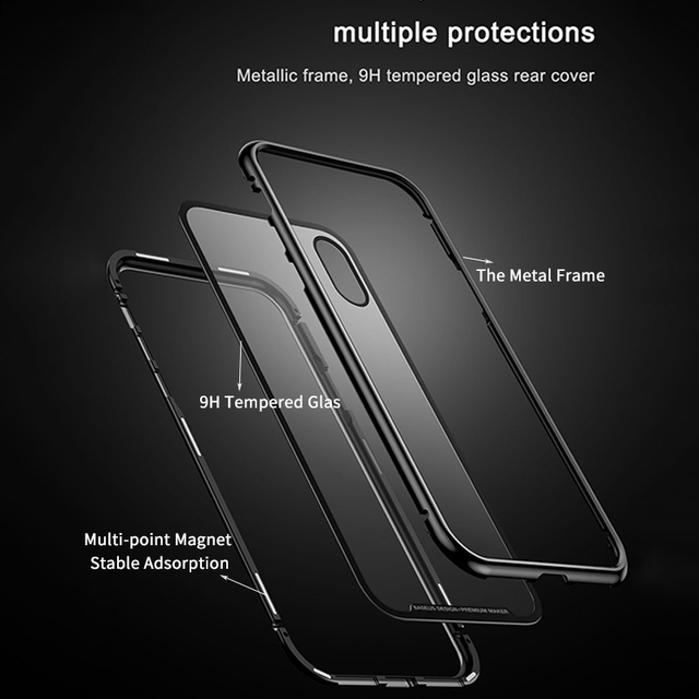 Baseus iPhone X Magnetic Adsorption Luxury Metal Bumper Tempered Glass Flip Case Cover