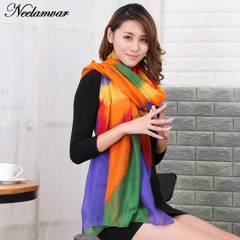 91e9399283260 NEW Women's voile Scarves Long Striped Rainbow Print Sarongs Hijab Beach  Swimsuit Cover Up Bikini Scarf