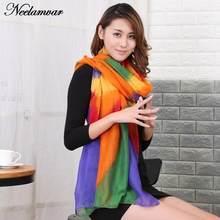 61cdbe13647c NEW Women s voile Scarves Long Striped Rainbow Print Sarongs Hijab Beach  Swimsuit Cover Up Bikini Scarf Pareo bufandas