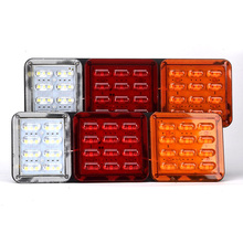 1Pair 32CM 24V LED Car Rear Lamp Truck Trailer Tail Lights Stop Light Turn Signal Reverse Red Yellow White