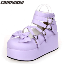 2017 New Lolita Sweet Lourie Cosplay Single Women Shoes Lady Wedge Shoes Fashion Women Platform Leisure Party Shoes Female