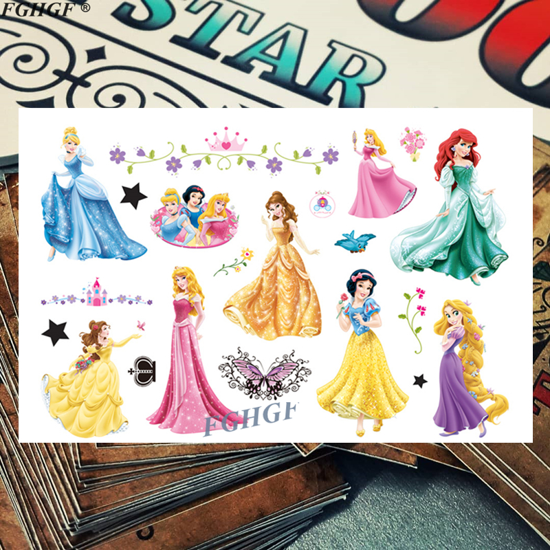 Cartoon Cute Princess Beauty Child Temporary Body Art Flash Tattoo Sticker 17*10cm Waterproof Painless Tattoo Free Shipping