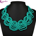 2016 Nueva Bohemia Boho Collar de Gargantilla de Varias Capas Collares Hechos A Mano de Punto Collar de Perlas Africanas Joyería de Las Mujeres