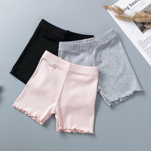 % 100% pamuklu kız güvenlik pantolon en kaliteli çocuklar kısa pantolon iç çamaşırı çocuk yaz sevimli şort külot için 3 11 yıl eski