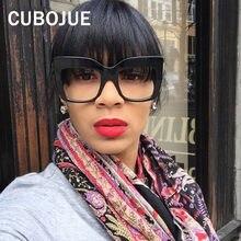 a0b90b2959 Cubojue Vintage de gran tamaño gafas de mujer de gran tamaño de cara  cuadrada con lente transparente femenino puntos Retro Decor.