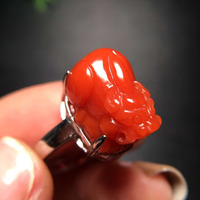 Adjustable Ring Natural South Red Agate Ring Crystal Women Improve Immunity Pixiu 925 Sterling Silver 16.3x11.4mm Beads AAAAA