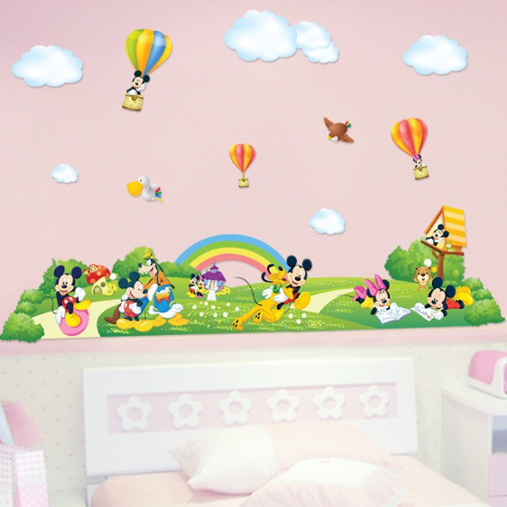 Lovely Mickey Mouse Fairyland Wall Sticker Baby Kids Room Large Poster Wallpaper  Cartoon Wall Decal Art Stickers Part 28