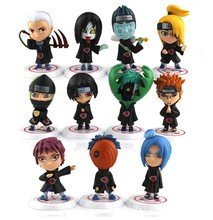 6cm 11pcs/set Japanese anime Naruto action figures Akatsuki Members cute garage kits with gift box for children