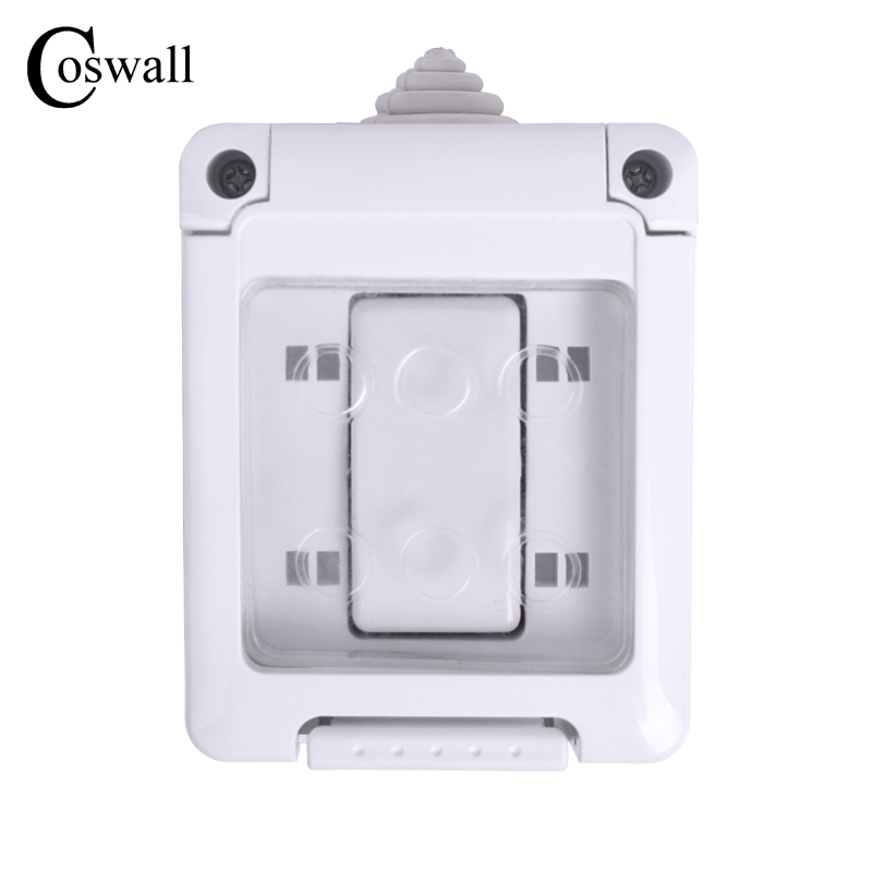 COSWALL CE Certification IP44 Waterproof Dust-proof Outdoor External Wall Switch 1 Gang Push Button Light Switch