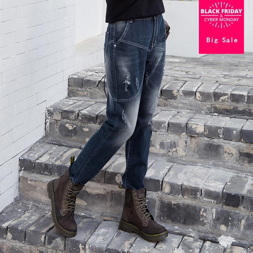 7XL plus size Fashion brand stitching jeans Women's cotton cool denim high waist pants capris Female casual pencil jeans wj135