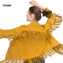 Tassel Suede Jackets Women Turn Down Collar Fringed Hem Solid Autumn Fashion Streetwear For Ladies Casaco Feminino T9X101