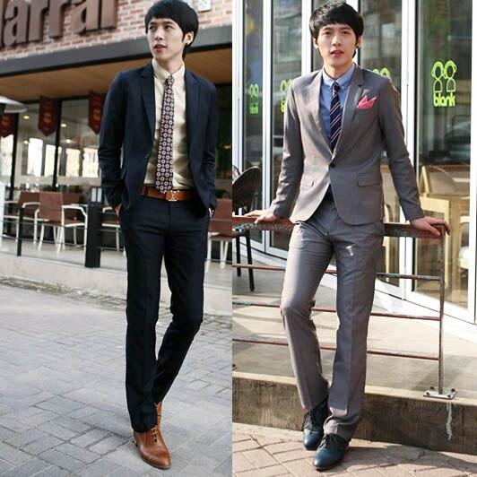 Herren Tailor Anzug Slim Fit Business Grau Brautigam Anzug