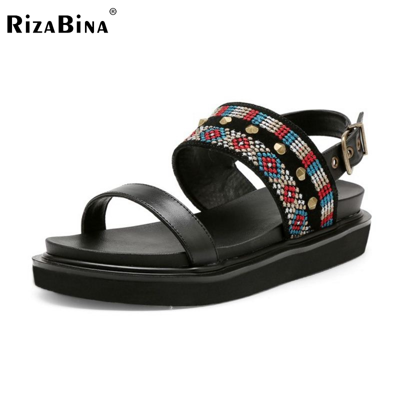 RizaBina Simple Women Real Genuine Leather Wedges Sandals Ankle Strap Bohemia Platform Sandals Summer Trifle Shoes Size 34-39 ribetrini women hot sale cow leather low heel wedges summer casual shoes woman ankle strap open toe platform sandals size 34 39