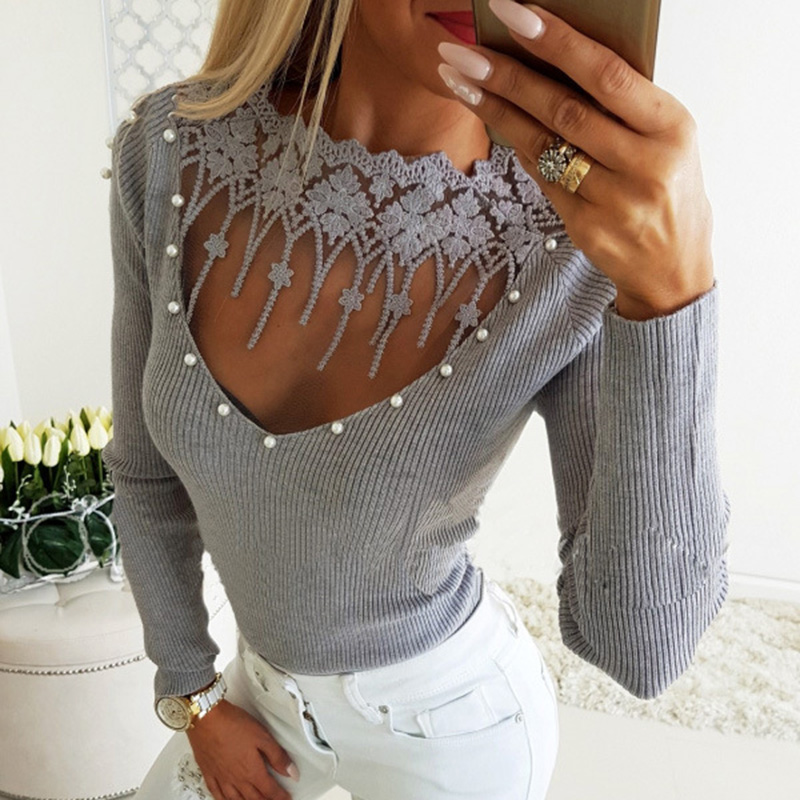 Blouses & Shirts Beading Lace Applique Embellished V-cut Top Sexy Mesh Sheer Pearls Blouse Autumn Fashion Grey Tops Femme Long Sleeve Shirt Women