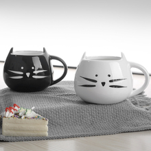 Free shipping Berjaya 2PCS Lovely Cute Morning Cat Ceramic Mug Funny Shaped Cup for Coffee Tea Black ,Glossy or White