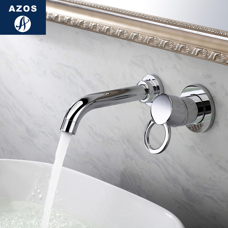 Azos In-wall Faucet Split Extended Brass Chrome Cold and Hot Switch Shower Room Basin Bathroom Cabinet Single Handle Double Hol