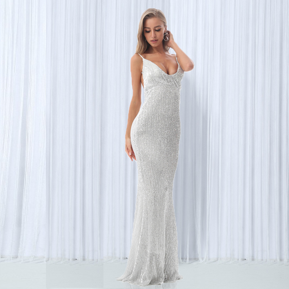 Sexy Stretch Silver Sequin Maxi Dress Hollow Out Floor Length Summer Party Dress Padded V Neck