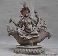 christmas Tibetan Buddhism Purple Bronze 4 Arms Kwan yin Goddess Buddhas Sit Beast Statue halloween