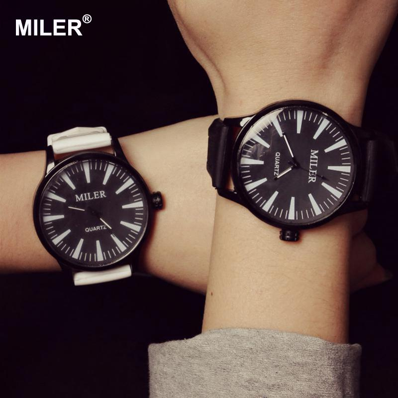 2016 New Fashion MILER Brand Jelly Silicone Rubber Quartz Watch Wristwatches for Women Girls Students Black White kids watch fashion cute students silicone quartz watches children plastic wristwatches boys girls gift