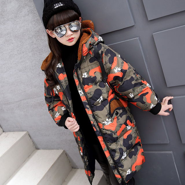 Камуфляж печати дети вниз куртка для девочки детская одежда для холодной зимы Куртки длинный детская одежда для девочек
