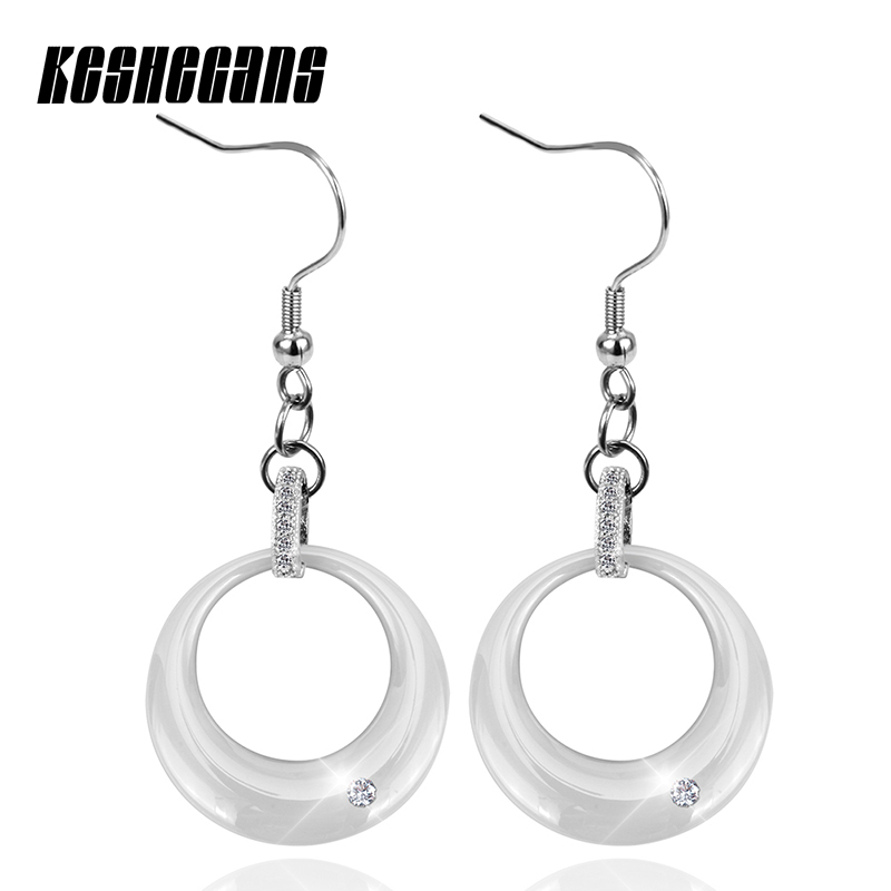 Fashion Beautiful White Drop Earrings With Bling CZ Stone For Women Stainless Steel White Ceramic Earring Wedding Jewelry Gift