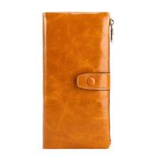 Moxi натуральная кожа Для женщин кошелек длинный женский класса люкс из коровьей кожи Бизнес Для женщин Сумочка HASP держатель для карт