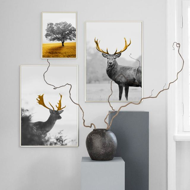 Sika Deer Golden Grassland Tree Landscape Wall Art 1