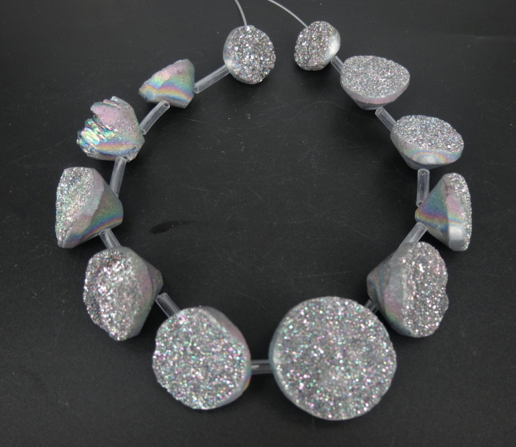 Rainbow Titanium Druzy Pendant Unique Semi Precious Quartz Crystal Necklace Pendant Druzy Agate Necklace